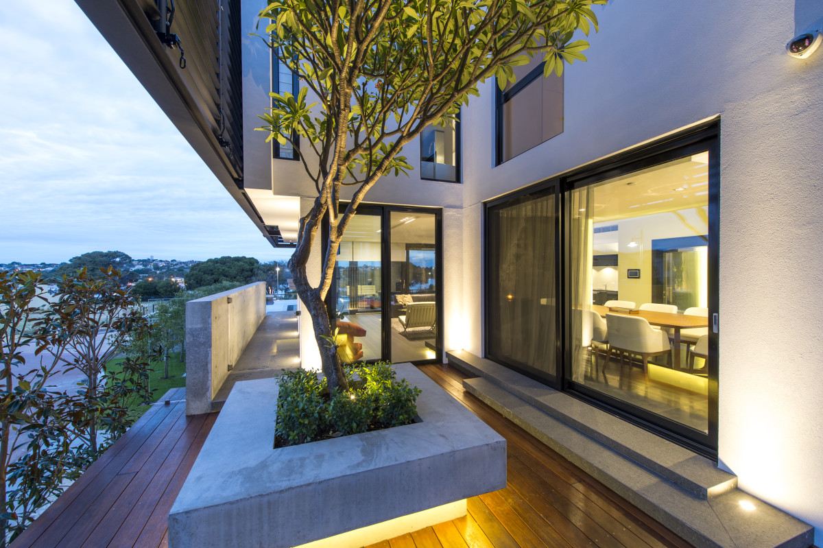 Luxury home mosman park off-form concrete landscaping lighting