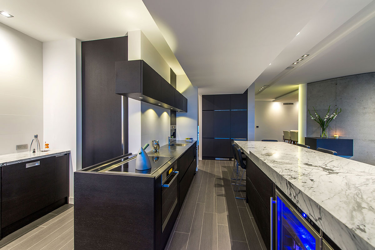 Designer Kitchen with Superb finishes, lighting. Mosman Park multi storey home by Prima homes custom builders