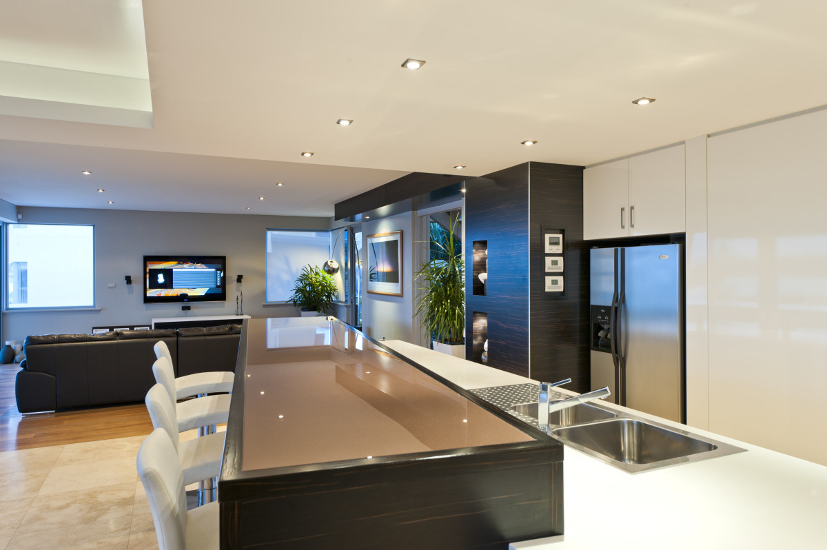 Open Plan Kitchen Dining and Lounge area, custom built by Prima Homes in Mount Pleasant WA