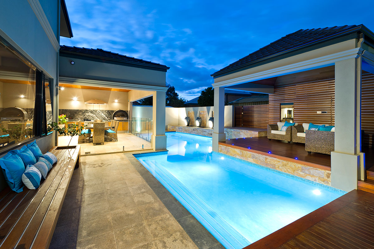 Probably the best outdoor luxury entertainment area, poll with lap pool dining area and timber decked loung area seperated from the home