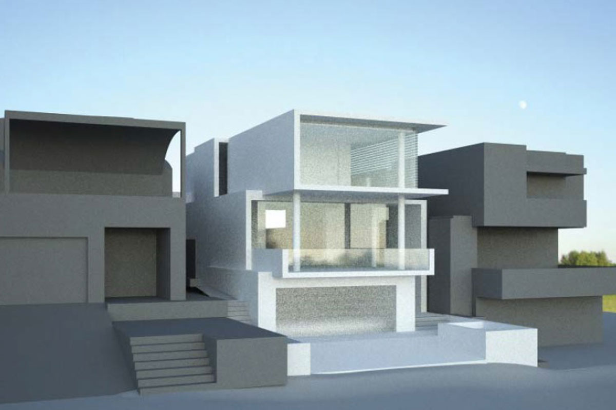 Front view 1 ultra modern home with ocean views from second storey living with exapnsive windows