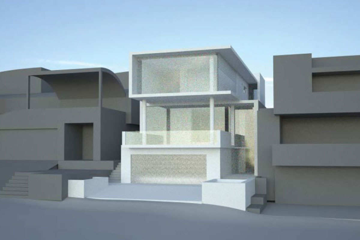 Front view 2 ultra modern home with ocean views from second storey living with exapnsive windows